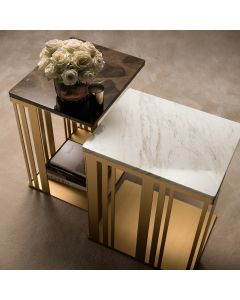 Adora Interiors ADO3354 Atmosfera Side Table With Marble Top