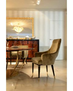 Formitalia Glamour FG3692 Dome High Back Dining Chair W/ Embroidery
