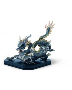 Lladro 1001934 Limited Edition Golden Lustre And Blue Great Dragon Sculpture