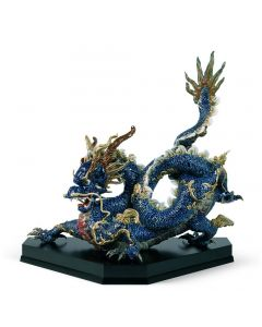 Lladro 1001935 Limited Edition Blue Enamel Great Dragon Sculpture