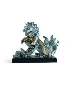 Lladro 1001990 Limited Edition Blue Guardian Lioness Scultpture