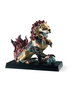 Lladro 1001993 Limited Edition Red Guardian Lion Sculpture