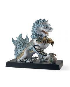 Lladro 1001991 Limited Edition Blue Guardian Lion Sculpture