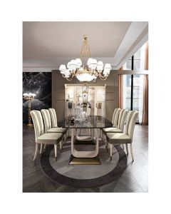 "Mobilpiu Luxury MPL4153 Diamond 138"" Long Dining Table-Imperial Black"